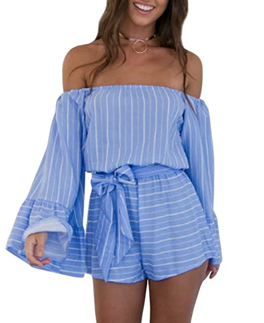 bd4737d6f535 Amazon.com  JINTING Striped Rompers Jumpsuit for Women Off The Shoulder  Long Sleeve Casual Loose Short Pants Romper Jumpsuit with Belt  Clothing