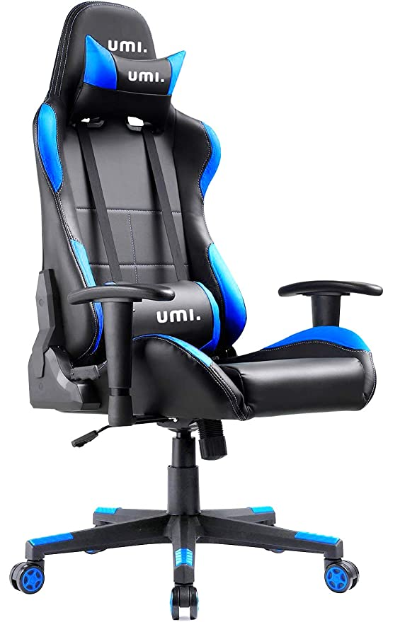 Umi. by Amazon - Silla Gaming Escritorio Oficina Gamer Ordenador Despacho Garantía de 2 años Sillas Ergonomica con Cojin Ajustable Color Azúl