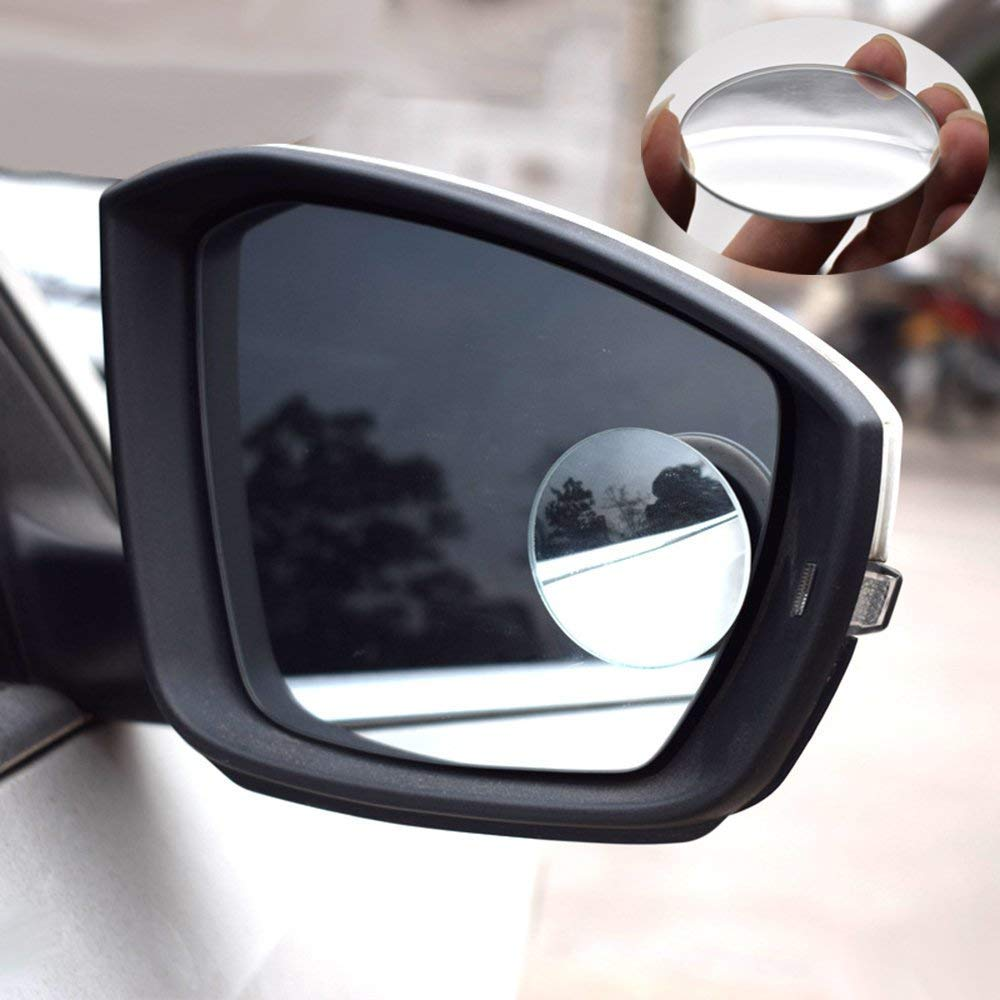 MotorFansClub Specchietto cieco a scomparsa, 2'Specchietto retrovisore convesso senza cornice rotondo in vetro HD, confezione da 2 pezzi 2Specchietto retrovisore convesso senza cornice rotondo in vetro HD