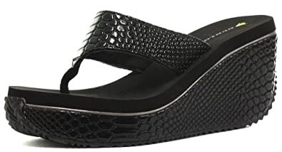 feadc5e6da4b Image Unavailable. Image not available for. Colour  Dunlop Snake PU Black  Womens High Wedge Flip Flops ...