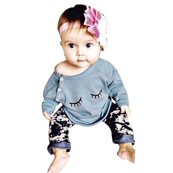 JiaMeng Ropa Bebe Nino Recien Nacido Oto?o Impresiš®n Blusas Bebe Ni?a Manga Larga Camisetas BebšŠ Conjuntos Moda Camisa + Pantalones Largos: Amazon.es: ...