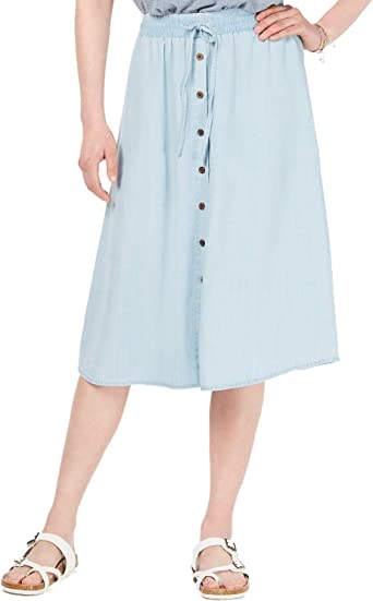 Customizable length A-line Custom Made to your Measurements and desired Fit. plus sizes Chambray skirt button pocket