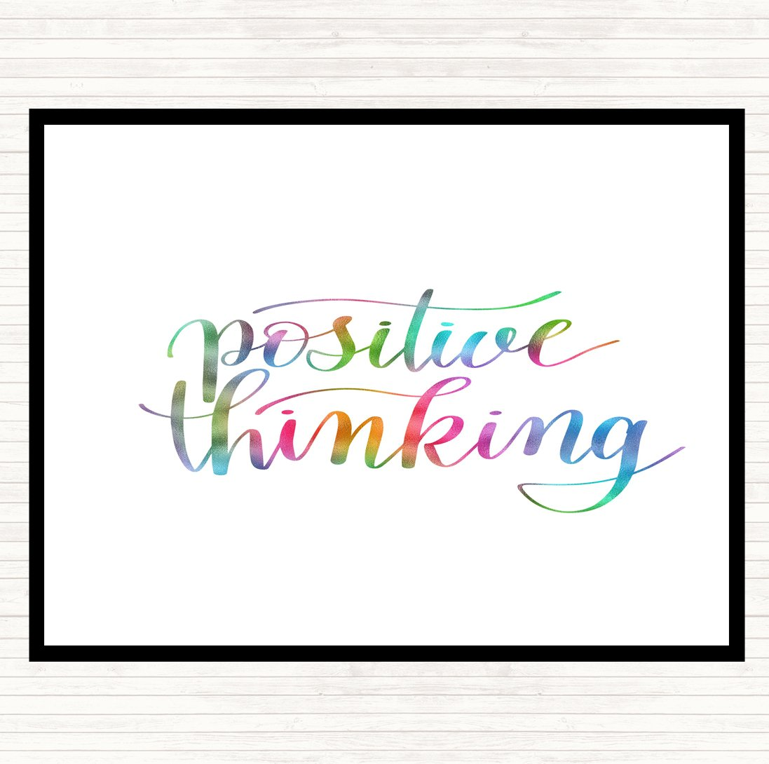 Positive Thought Rainbow Quote Mouse Mat Pad