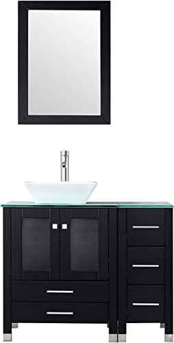 BATHJOY 36 Modern Wood Bathroom Vanity Cabinet White Square Ceramic Vessel Sink Top Free Faucet Drain Combo