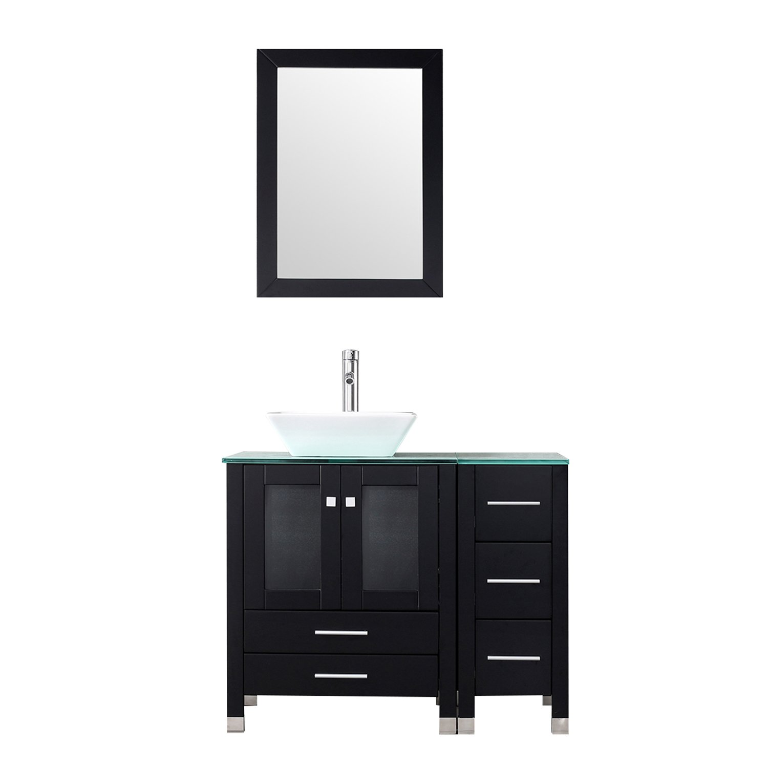 BATHJOY 36 Modern Wood Bathroom Vanity Cabinet White Square Ceramic Vessel Sink Top Free Faucet Drain Combo with Mirror