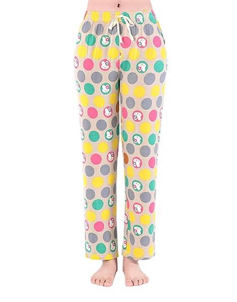 174679c6fec5 Image Unavailable. Image not available for. Color  YIJIU Womens Summer  Sleepwear Cute Rabbit Print Drawstring Wide Leg Pajama Pants