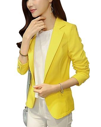 Veste de costume femme jaune