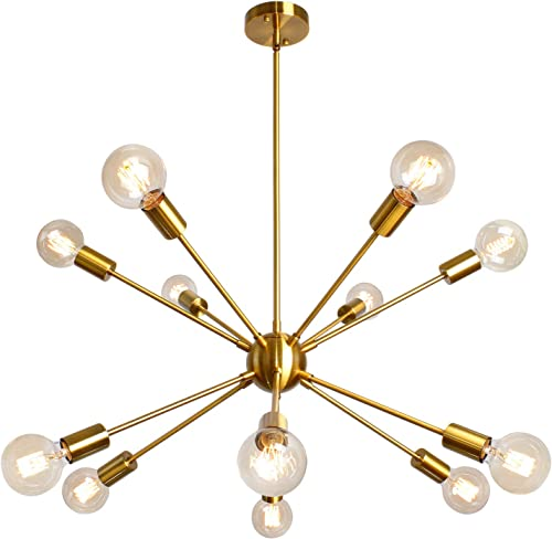 PUZHI HOME Sputnik Chandelier 12 Lights Gold Chandelier Modern Pendant Light Contemporary Brass Mid-Century Starburst Style Ceiling Lamp