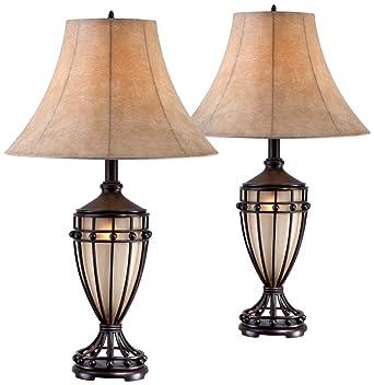 Cardiff Brushed Iron Night Light Urn Table Lamp Set Of 2 Amazon Com