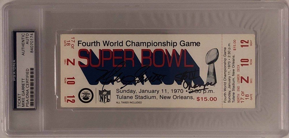 Mike Garrett Signed Autograph Replica Super Bowl Iv Ticket Sb Iv Champs PSA/DNA Certified 84070174
