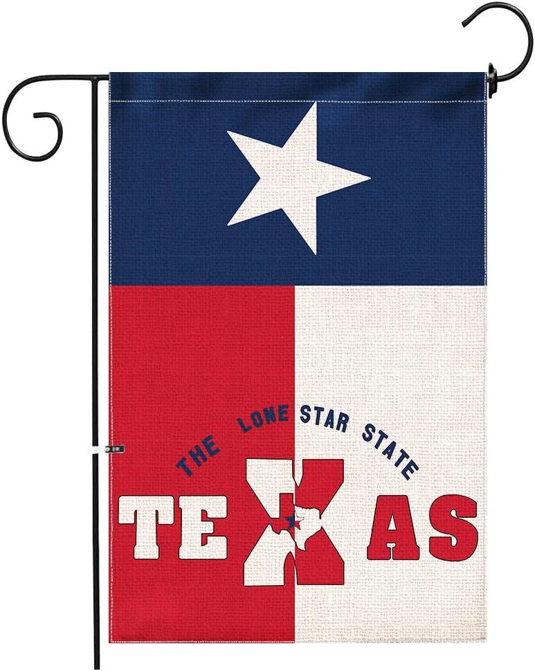 Hexagram Texas State Garden Flag,Burlap Double Sided Yard Flag,Vertiacal Outdoor Texas Decor,Garden Flag 12x18 Prime