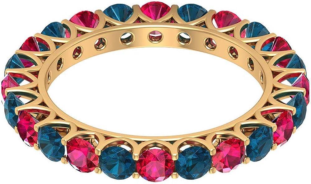 Anillo de topacio azul rubí certificado de corte redondo de 3,24 quilates, rojo, 3 mm, piedra preciosa de oro vintage, anillos de eternidad, anillo de fiesta de cumpleaños, aniversario, 14K Oro