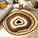 Ustide Wood Rings Collection Vintage Round Area Rug,Non-skid Yoga Mat Living Room/Bedroom Carpet,78.7''
