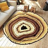 Ustide Wood Rings Collection Vintage Round Area Rug,Non-skid Yoga Mat Living Room/Bedroom Carpet,78.7''