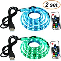 SEWTL Led Strip Lights TV Backlight 2 Sets Bias lighting 60 RGB 5050 LEDs USB Multi Color Waterproof Flexible Tape 3.2ft (1m) with Remote Control