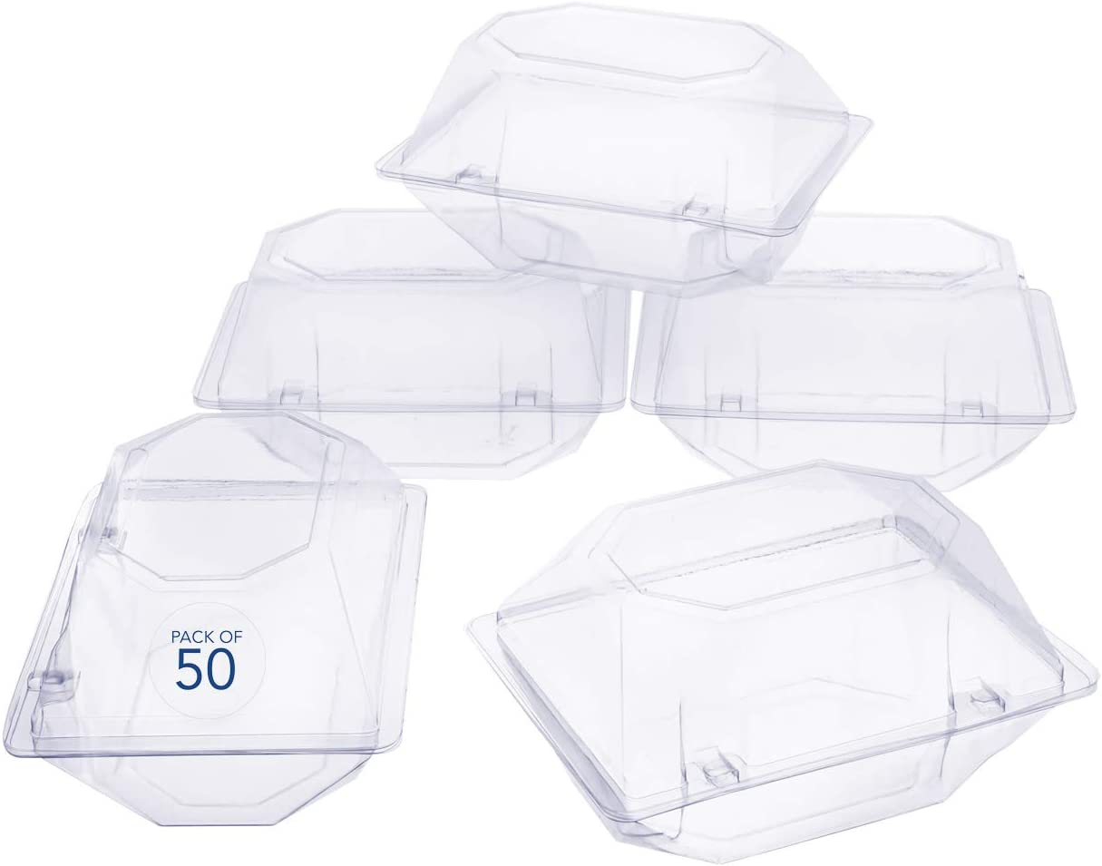 50 Pack Clear Plastic Flower Box for Corsage, Boutonniere, Rose, Orchid Prom Wedding Craft Container 6x5x4