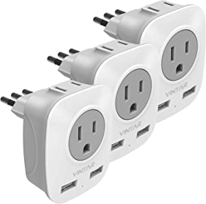 [3-Pack] Italy Travel Power Adapter, VINTAR 3 Prong Grounded Plug with 2 USB and 2 American Outlets, 4 in 1 Outlet Adaptor Dual USB, AC Outlet Adaptor for USA to Italy Uruguay Chile (Type L)