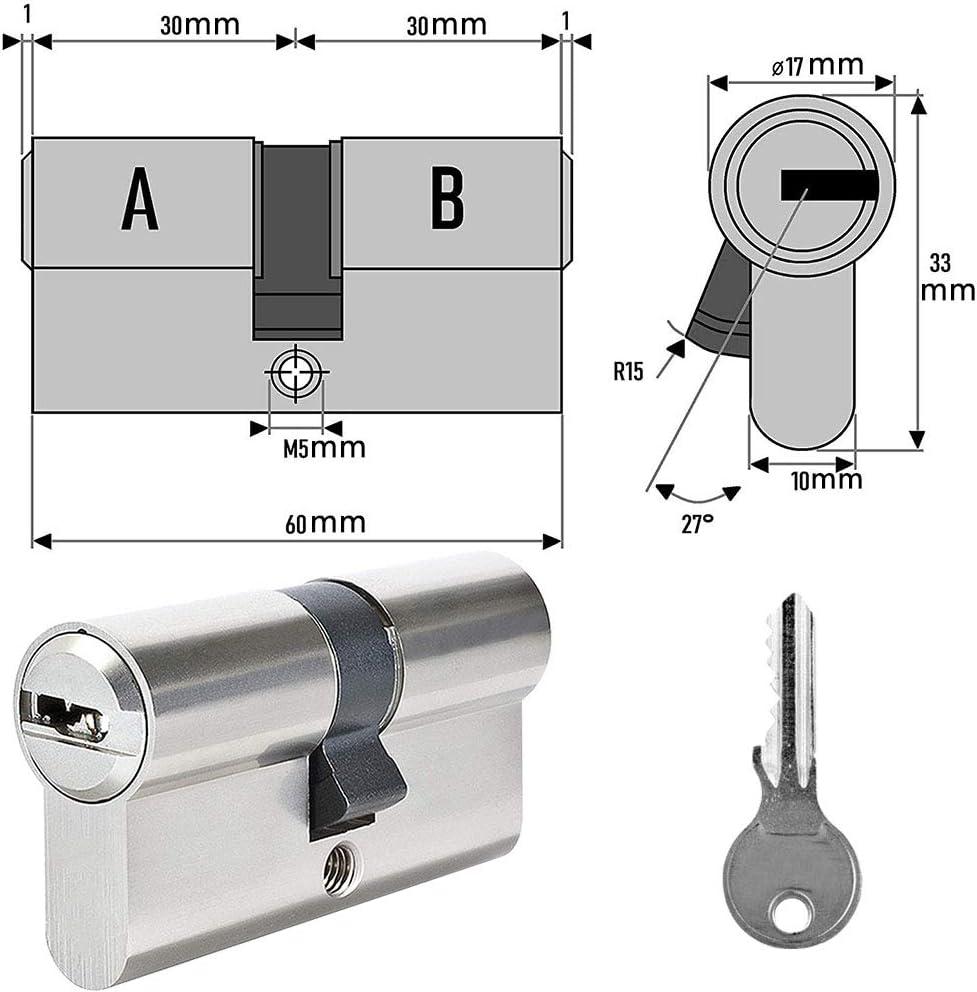 BETOY - Cilindro de cierre con 3 llaves de seguridad, cilindro ...