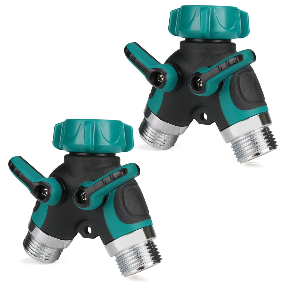 RilexAwhile Garden 2 Way Y Hose Splitter Zinc Alloy Hose Connector with Comfortable Rubberized Grip for Home Garden, 2 Pack