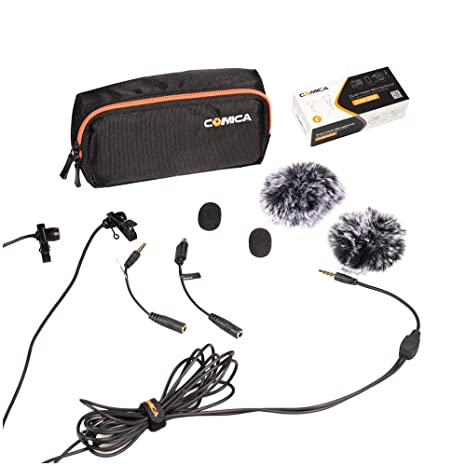 Live Equipment Comica Cvm-d02 Universal Microphone 2.5m Lavalier Omnidirectional Condenser Double Mics For Dslr Cameras Smart Phone Gopro Hero