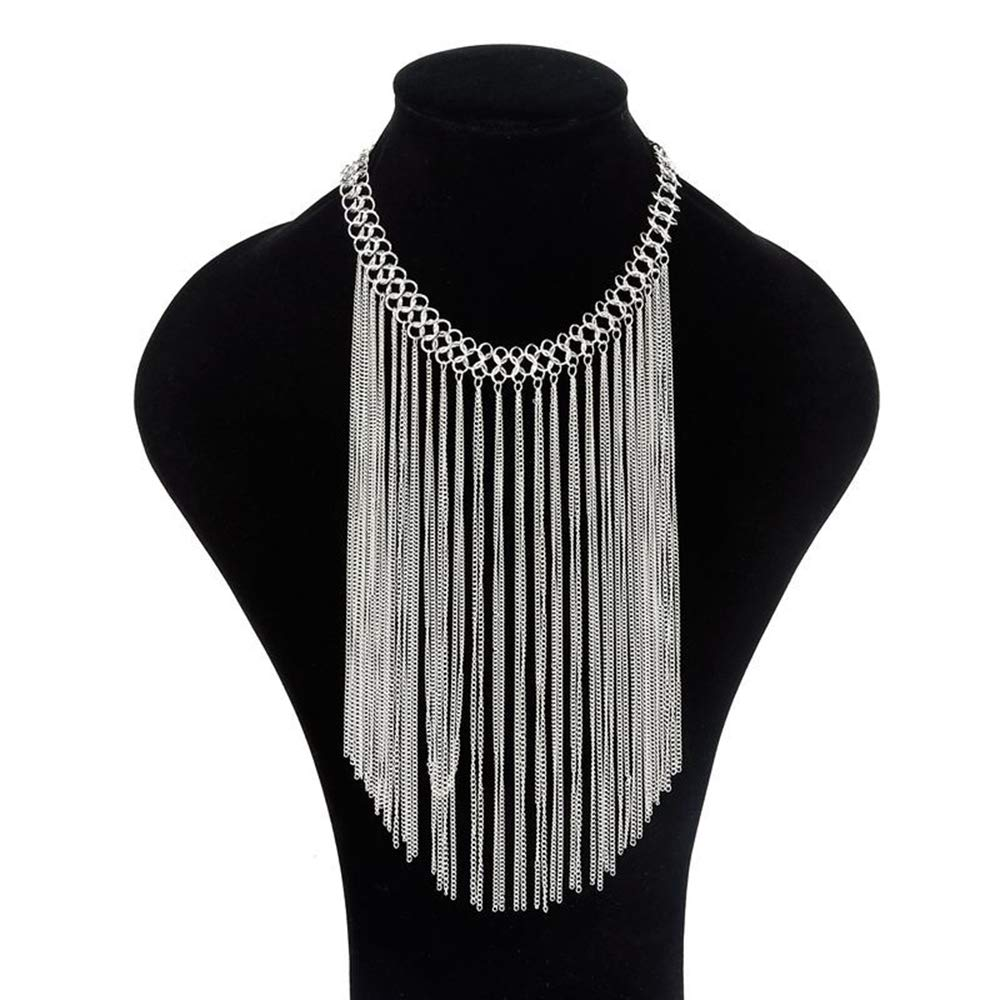 Souarts Tassel Collar Necklace for Women Novelty Fashion Body Chain Jewelry Punk Metal Multilayer Chains Necklace