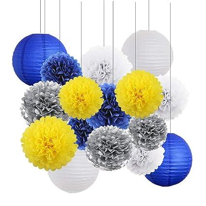 Amazon Yellow Navy Blue White Sliver Bridal Shower Decorations