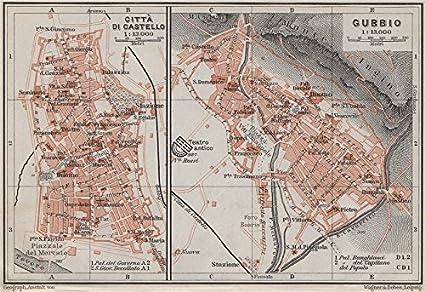 Amazon Com Citta Di Castello Gubbio Antique Town City Plans