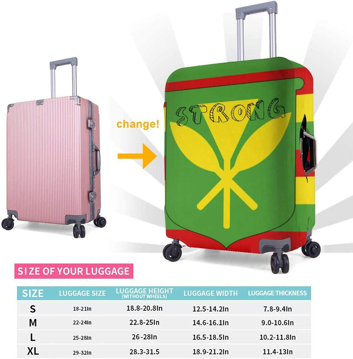 The Original Hawaii Flag Printed Luggage Cover Zipper Suitcase Cover Washable Thickened Luggage Cover 18-32 Inch