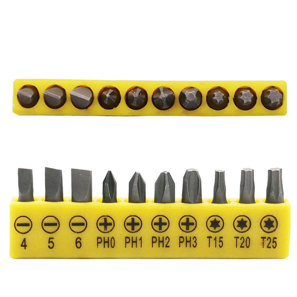 Lorsoul Steel Double-Headed L-Shaped Hex Socket Wrench Set 10 Bits Slotted Screwdriver Hand Tool Kit
