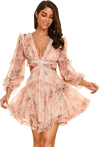 Luxury Pink Floral Puff Sleeved Mini Party Dress Perfect For Nights Out