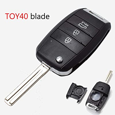 XUKEY TOY40 Blade Car Remote Key Shell for Kia Sportage Carens Ceed Sorento Optima Picanto Rio Soul Cerato Rando Forte Key Replacement Fob Case Repair Kit 3 Button: Automotive