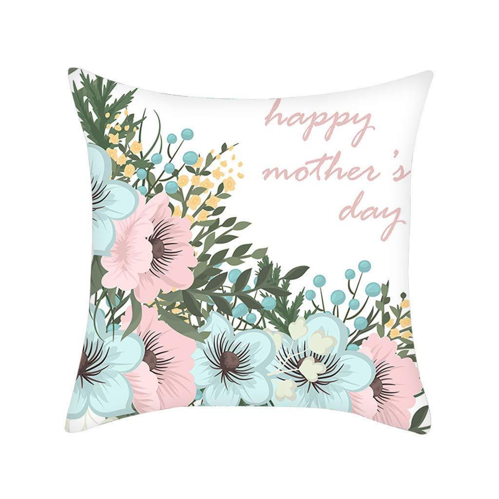 Simple Fashion Floral Print Decorative Pillow Covers Soft Soild Square Throw Pillow Cases Cafe Sofa Cushion Cover Home Decor 45 x 45 cm (Multicolour-A, M)