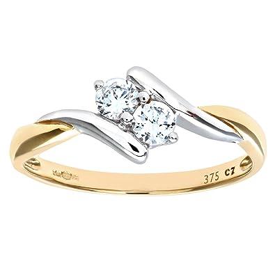 Élégant, bague en or jaune 9 carats au ton chaud et classique
