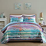 Oversized King Duvet Cover 110 X 98 NEWLAKE Quilt Bedspread Sets-Paint Free Style Pattern Reversible Patchwork Coverlet Set,King Size