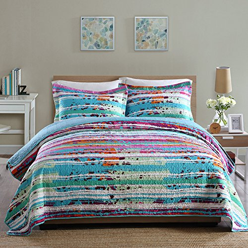 NEWLAKE Quilt Bedspread Sets-Paint Free Style Pattern Reversible Patchwork Coverlet Set,Queen Size