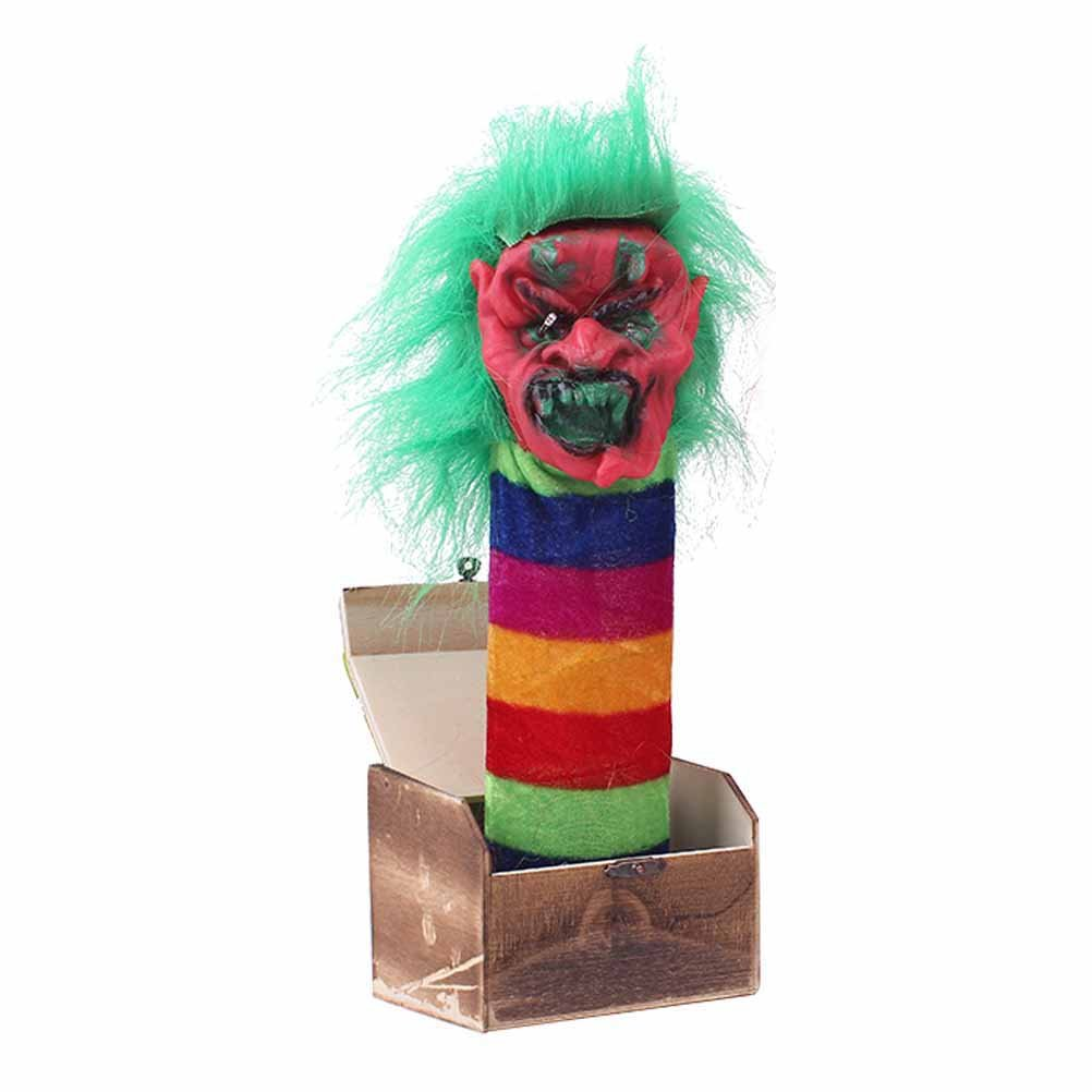 BESTOYARD Halloween Prank Toy Wooden Scary Box Funy Horror Trick Electric Voice Activated Joke Toy (Green Monster)