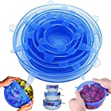 Bowl Covers and Silicone Stretch Lids, IHUIXINHE Reusable Elastic Food Saver Covers - BPA Free, Dishwasher, Microwave, Oven and Freezer Safe, 6 Pack of Various Sizes