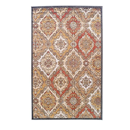Superior Designer Hayden Area Rug Collection, Intricate Damask Ogee Pattern, 6mm Pile Height with Jute Backing, Affordable and Beautiful Rugs - 8' x 10', Cream