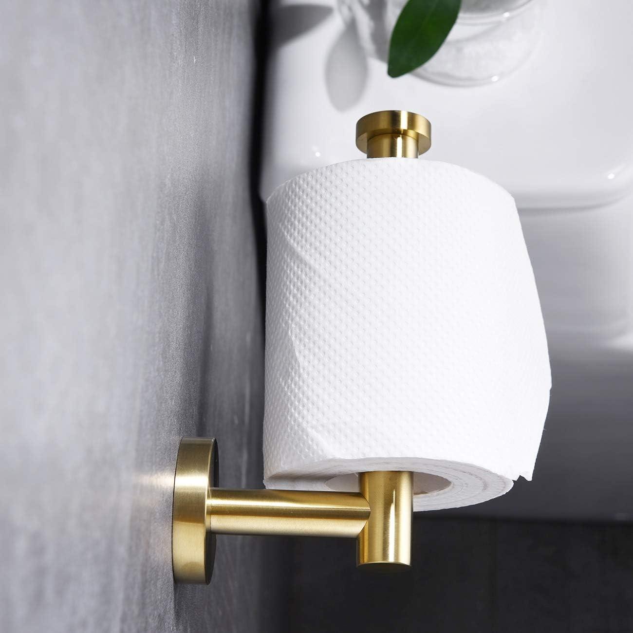 C100L12-BG Brushed Gold Finish Hoooh Toilet Paper Holder SUS304 Stainless Steel Bathroom Lavatory Paper Towel Dispenser Wall Mount