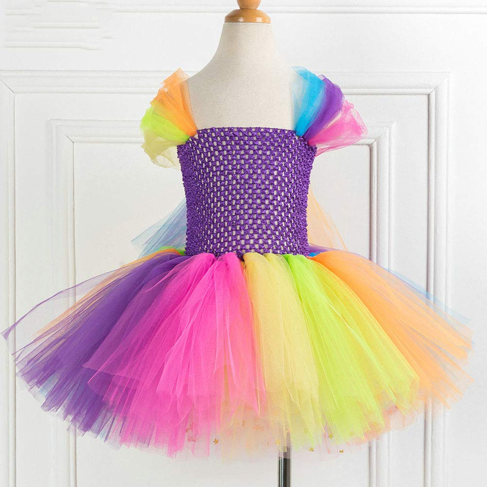 ARAUS Vestido Ni/ña Fiesta Falda Tul de Iris Cintura Alta Vestido Ceremonia Verano
