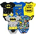 Warner Bros Batman Baby Boys 5 Pack Bodysuits Black Grey Blue Yellow Multi 0 3 Months