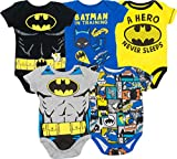 Warner Bros. Batman Baby Boys' 5 Pack Bodysuits Black, Grey, Blue, Yellow, Multi (3-6 Months)