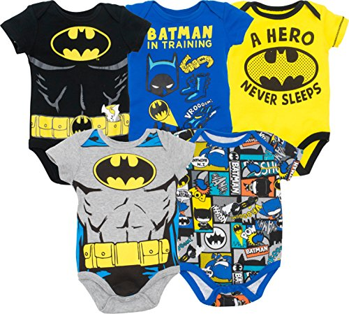 Warner Bros. Batman Baby Boys' 5 Pack Bodysuits Black, Grey, Blue, Yellow, Multi (6-9 Months) ()