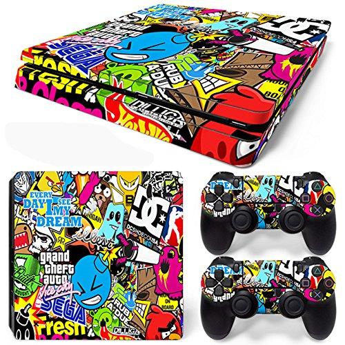 friendlytomato-ps4-slim-console-and-dualshock-4-controller-skin-set-collage-design-playstation-4-vin
