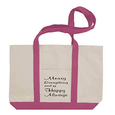 6b07996cecb well-wreapped Merry Everything Happy Always Cursive Cotton Canvas Boat Tote  Bag Tote