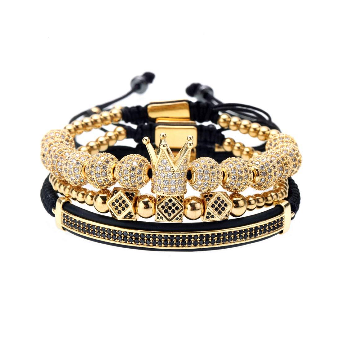 MAOCEN Men Women Bracelets Luxury Royal Crown Charm Jewelry Bracelets Gold/Silver (Gold 1set) by MAOCEN