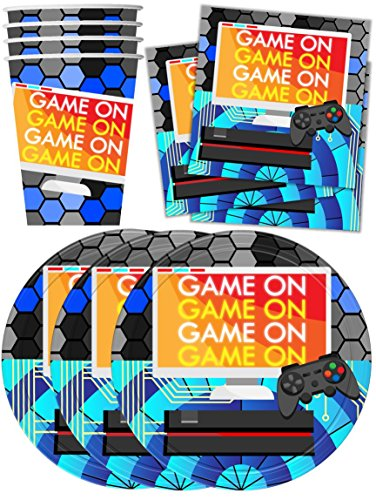 Price comparison product image Video Gaming Game On Birthday Party Supplies Set Plates Napkins Cups Tableware Kit for 16
