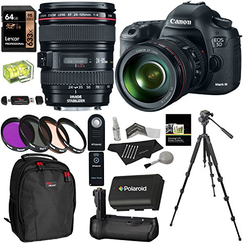 Canon EOS 5D Mark III 22.3 MP Full Frame CMOS Digital SLR Camera EF 24-105mm f/4 L IS USM Lens Kit + Tripod + Ritz Gear USB Reader Writer + - Camera 5d Slr