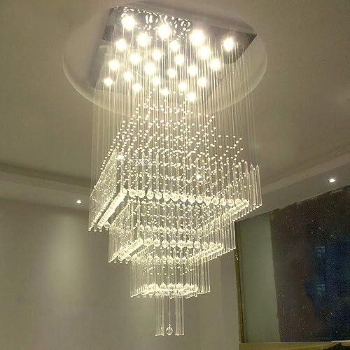 SILJOY Modern Square Raindrop Crystal Chandelier Large Flush Mount Ceiling Light Fixture