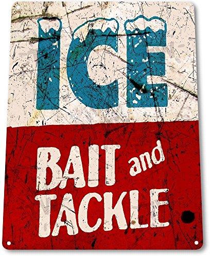TIN SIGN B439 Ice Bait Tackle Fish Fishing Marina Shack Rustic Fishing Decor ()